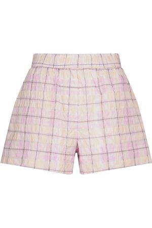 Ganni Dame Shorts - Checked seersucker shorts