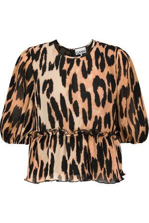 Ganni Dame Langermede - Leopard-print pleated georgette top
