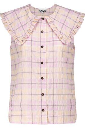 Ganni Checked seersucker blouse