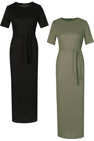 Boohoo Tall Side Split Rib Midi Dress 2 Pack