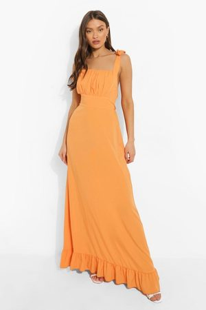 Boohoo Square Neck Tie Strap Ruched Bust Maxi Dress