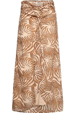 Scotch&Soda Organic Cotton Printed Skirt With Knot Detail Knelangt Skjørt Brun