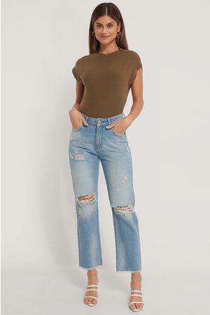 NA-KD Hullete Rette Jeans Med Høyt Liv