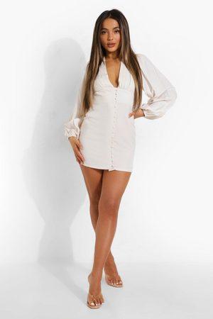 Boohoo Dame Korte kjoler - Petite Balloon Sleeve Plunge Mini Dress