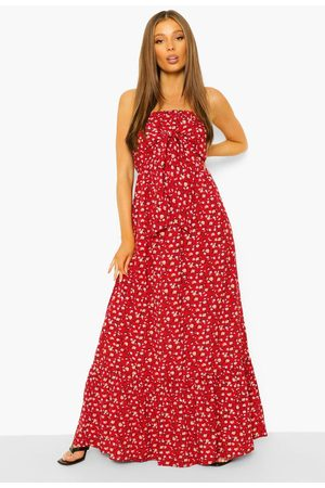 Boohoo Dame Maxikjoler - Ditsy Floral Bandeau Knot Detail Maxi Dress