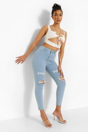 Boohoo Distressed Skinny Jeans With Thigh Print