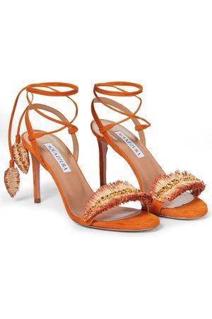 Aquazzura Dame Høyhælte sandaler - Isla 85 embellished suede sandals
