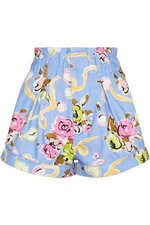 Alessandra Rich Floral high-rise cotton shorts