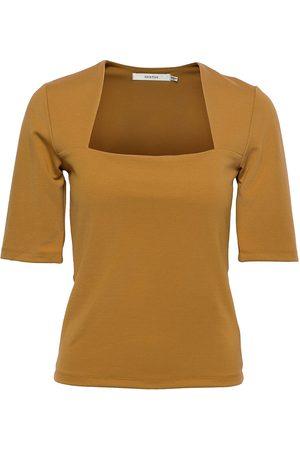 Gestuz Malbagz Squareneck Tee T-shirts & Tops Short-sleeved Beige