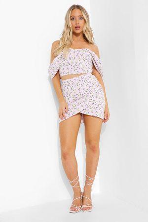 Boohoo Dame Miniskjørt - Ditsy Floral Bardot Corset & Ruched Skirt