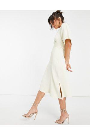 Closet Kimono sleeve wrap front midi dress in stone-White