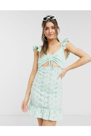 ASOS Broderie mini sundress with cut out and frill straps in mint-Green