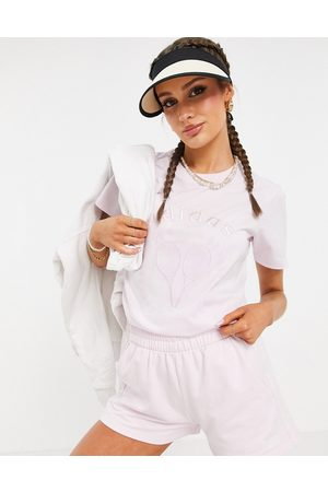adidas Tennis Luxe' logo t-shirt in pearl pink