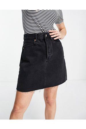 MANGO Denim mini skirt in black