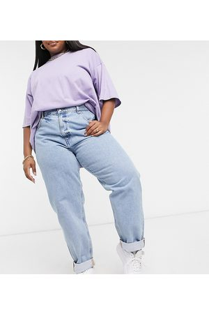 ASOS ASOS DESIGN Curve high rise 'slouchy' mom jeans in lightwash-Blue