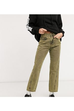 COLLUSION X005 90s cropped straight leg jeans with twisted seams in yellow overdye