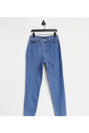 Missguided Riot high waisted plain rigid mom jean in blue
