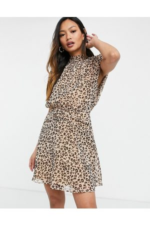ASOS Sleeveless mini dress with ruched waist in animal print-Multi