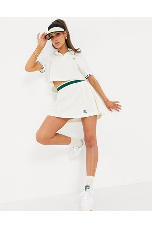 adidas Tennis Luxe' logo pleated skirt in off white