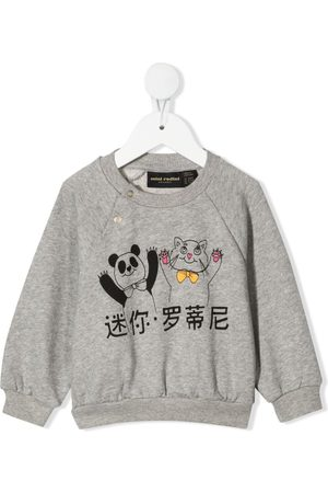 Mini Rodini Sweatshirts - Panda and cat-print sweatshirt