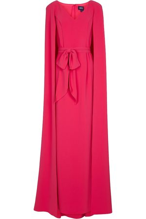 Marchesa Notte Stretch-crêpe cape gown