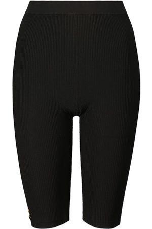 Saint Laurent Ribbed-knit biker shorts