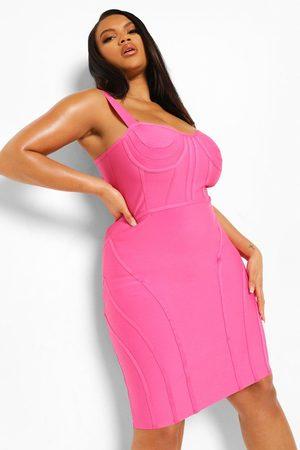 Boohoo Plus Bandage Sculpt Corset Bodycon Dress
