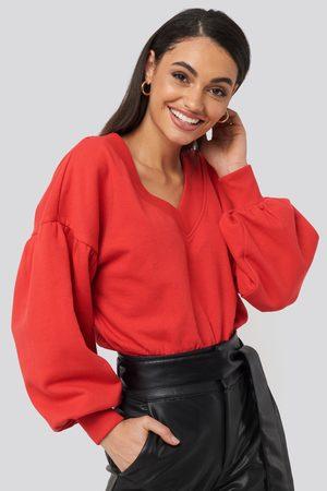 NA-KD Dame Sweatshirts - Puff Sleeve V-neck Sweatshirt