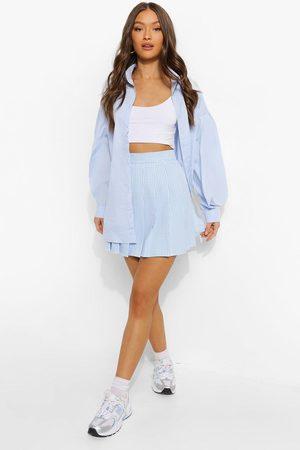 Boohoo Gingham Woven Pleated Super Mini Tennis Skirt