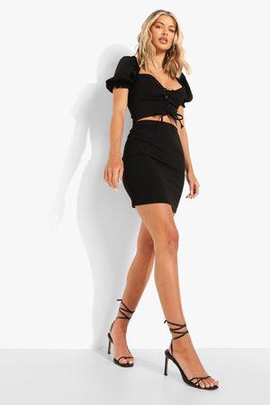Boohoo Puff Sleeve Corset & Mini Skirt