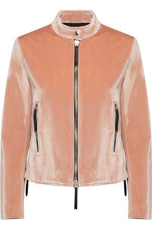 Giuseppe Zanotti Dame Skinnjakker - Velvet zip-up jacket