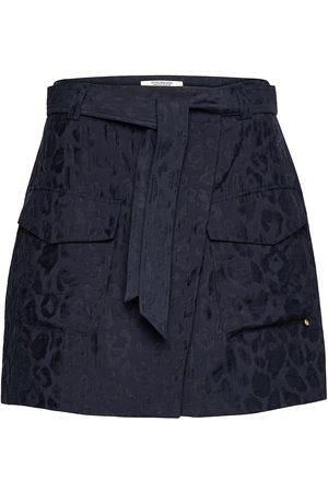 Scotch&Soda Dame Miniskjørt - Wrap-Over Skirt In Animal Jacquard Tencel™ Quality Kort Skjørt Blå