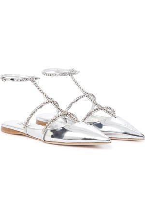 Miu Miu Embellished metallic leather sandals