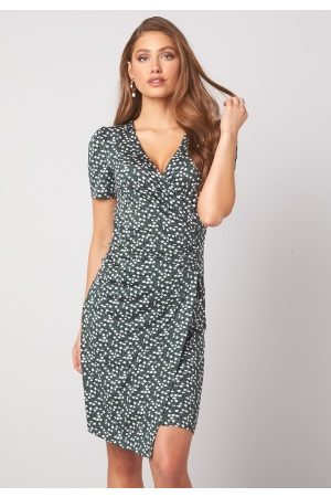 Happy Holly Simone ss puff dress Dusty green / Offwhite 32/34