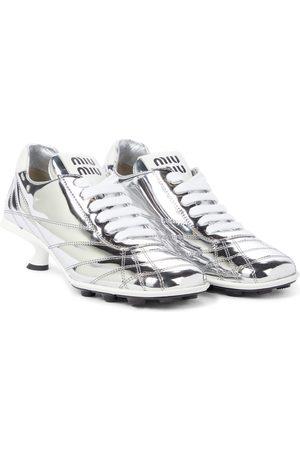 Miu Miu Metallic leather sneaker pumps