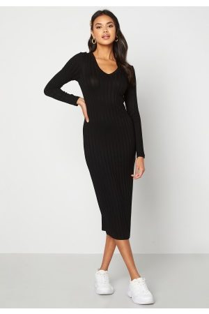 Happy Holly Estella rib mid dress Black 32/34