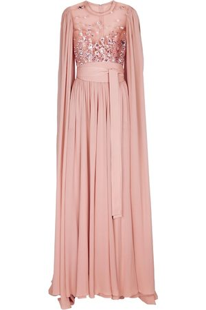 Elie saab Sequined silk-blend cape gown