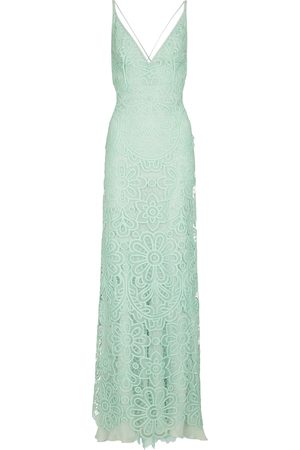 Costarellos Zanna lace and silk chiffon gown