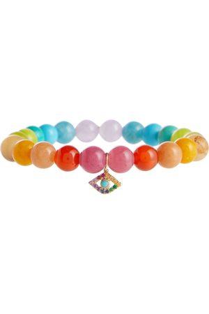 Sydney Evan Rainbow jade bracelet with 14kt yellow gold charm