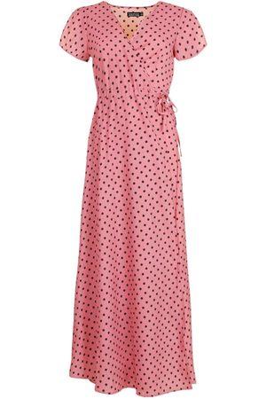 Boohoo Dame Maxikjoler - Polka Dot Wrap Tee Maxi Dress