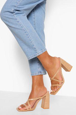 Boohoo Croc Square Toe Block Heel Mules