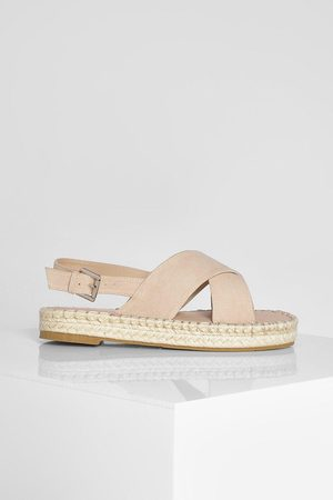 Boohoo Wide Fit Chunky Cross Over Espadrille