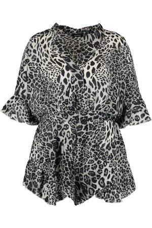 Boohoo Plus Zoe Leopard Print Plunge Wrap Playsuit