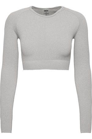 aim'n Dame Langermede - Light Grey Melange Ribbed Crop Long Sleeve Crop Tops