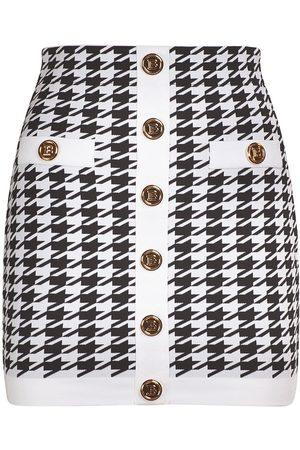 Balmain Knit Viscose Buttoned Mini Skirt