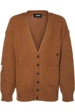 Dsquared2 Distressed Wool Knit Cardigan