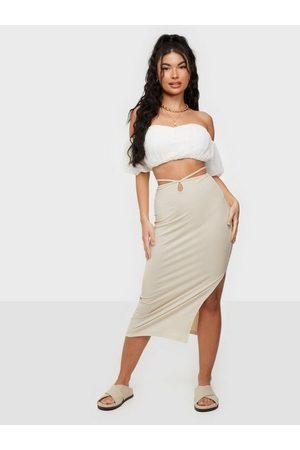 NLY Trend Dame Midiskjørt - Wrap Me Up Skirt Creme