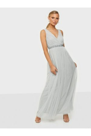 NLY Eve Goddess Mesh Gown Dusty Blue