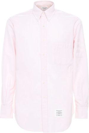 Thom Browne Herre Langermede - Cotton Oxford Shirt W/ Satin 4 Bar