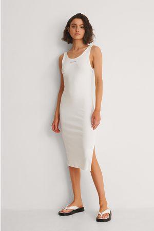 Calvin Klein Dame Hverdagskjoler - Micro Ribbekjole Med Stropper Og Merke